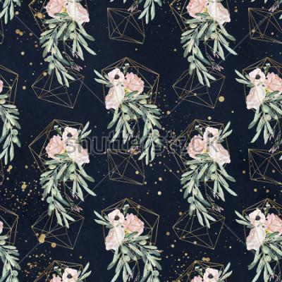 Фотообои Бесшовные акварель олея цветочный узор с оливковыми ветвями, листья, румяна цветочные букеты, брызги краски и золотые геометрические фигуры на черном фоне
