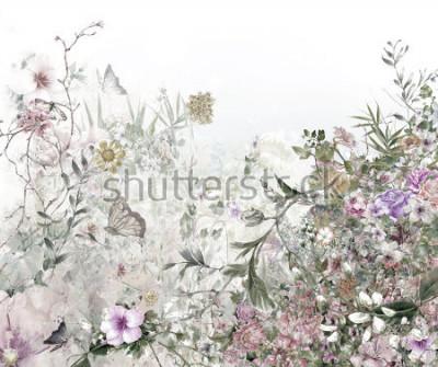 Фотообои акварель живопись листьев и цветов, на белом фоне