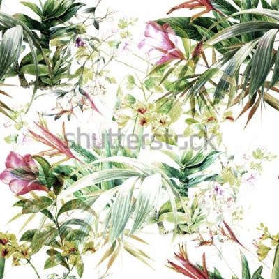 Фотообои Акварельные картины листьев и цветов, бесшовные модели на белом фоне