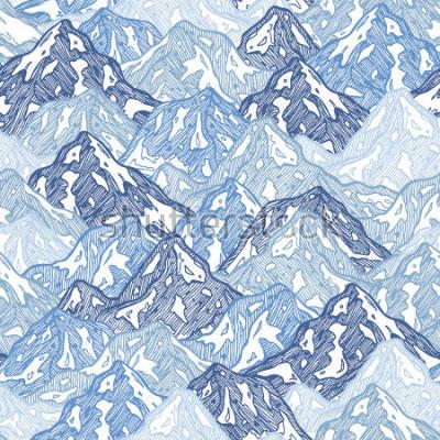 Фотообои Горы бесшовные модели. Веселье горы абстрактные иллюстрации. Векторные иллюстрации