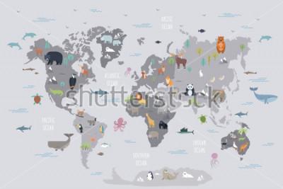 Фотообои Карта мира с дикими животными, живыми на разных континентах и в океане. Симпатичные мультяшные млекопитающие, рептилии, птицы, рыбы, населяющие планету. Плоские красочные векторные иллюстрации для