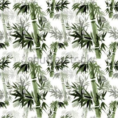 Фотообои Цветочный бесшовный узор. Шуршание бамбука на ветру. Восточное традиционное искусство, акварель, тушь, кисть.