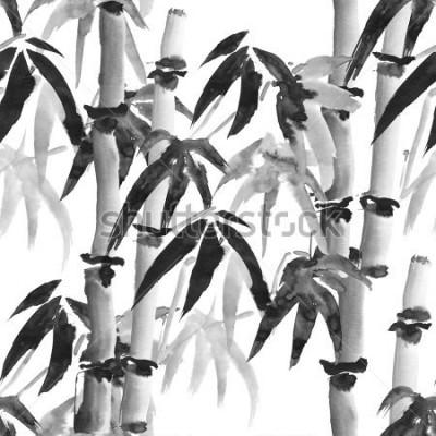 Фотообои Черные бесшовные модели с бамбуком в японском стиле на белом фоне