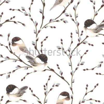 Фотообои Бесшовные шаблон ветвей ивы филиалов Черных Чикади, векторные иллюстрации на белом фоне в винтажном стиле акварели.