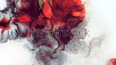 Фотообои Абстрактный красный фон. Макроэлементы. Красный цветок. Акриловые краски. Мраморная текстура. Современное искусство.
