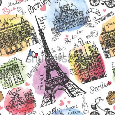 Фотообои Париж ориентир, надпись бесшовный шаблон. Акварель Штайн. Винтажный рисунок.
