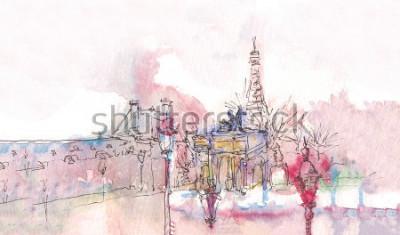 Фотообои Ориентир ориентирован на Эйфелевой башней позади. Акварель шик. Парижская панорама. Парижская акварельная панорама. Шикарный пейзаж