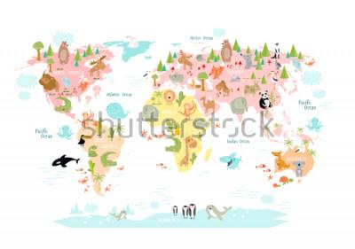 Фотообои Карта мира с мультфильм животных для детей. Европа, Азия, Южная Америка, Северная Америка, Австралия, Африка. Лев, крокодил, кенгуру. коала, кит, медведь, слон, акула, змея, тукан.