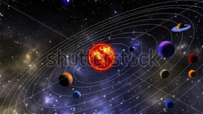 Фотообои Солнечная система. Фотография подготовлена с использованием 3D-рендеринга и распространения гауссовского шума в программном обеспечении для обработки изображений и кодирования.