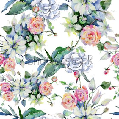 Фотообои Нежный букет цветов. Бесшовные фоновый узор. Тканевые обои с текстурой печати. Акварельный полевой цветок для фона, структуры, образца обертки, структуры или границы.