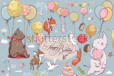 Фотообои милые животные, летающие с воздушными шарами