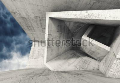 Фотообои Конкретный интерьер комнаты с хаотическими кубическими структурами и темным облачным небом снаружи. Абстрактная архитектура фон, 3d иллюстрации
