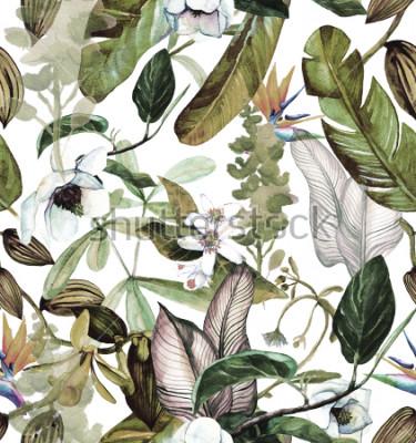 Фотообои Бесшовные акварель с тропическими цветами, магнолия, оранжевый цветок, ванильная орхидея, тропические листья, банановые листья