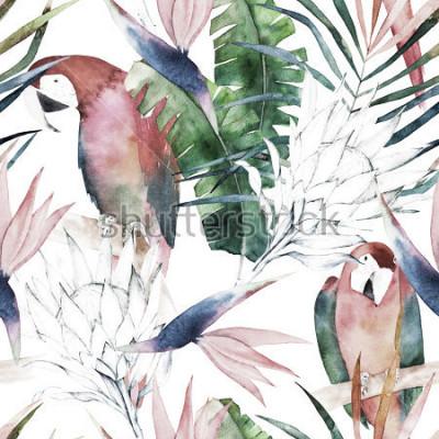Фотообои Тропические бесшовные модели с попугаями, протея и листьями. Акварельный летний принт. Экзотическая рисованная иллюстрация