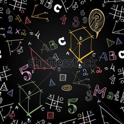 Фотообои Вектор доски школы бесшовные фон. Обратно в школу. Мел смешные картинки на доске. Иконы образования и школьной жизни.
