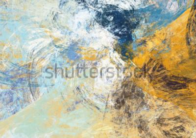 Фотообои Абстрактный красивый синий и желтый мягкий цвет фона. Динамическая живопись текстуры. Современный футуристический узор. Фрактальная графика для креативного графического дизайна