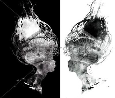 Фотообои абстрактный сюрреалистический портрет красивые девушки - профиль силуэт, длинные волосы, украшения. цифровая и акварель.