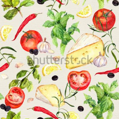 Фотообои Кухонный образец с сыром, помидорами, чесноком, специями и травами. Повторяя приготовление фона. Акварель