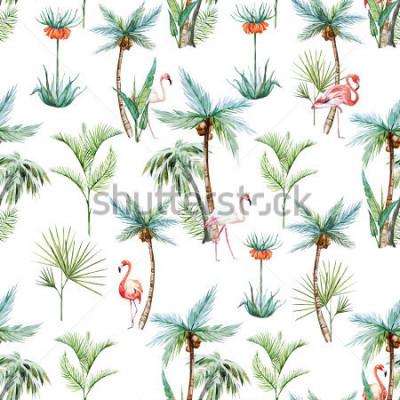 Фотообои акварель тропический узор, пальмы и фламинго на белом фоне