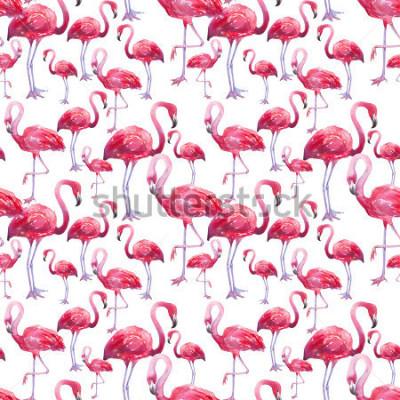 Фотообои акварель птица экзотический фламинго