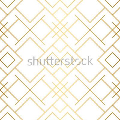 Фотообои Олотая текстура. Бесшовные геометрический рисунок. Золотой фон Вектор бесшовные модели Геометрический фон с ромбом и узлами. Абстрактный геометрический рисунок.