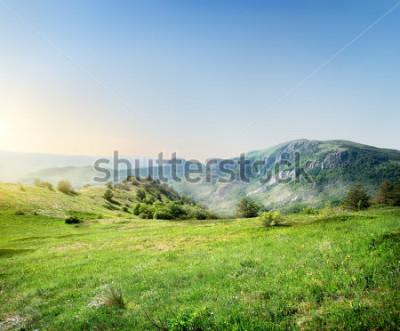 Фотообои Зелёный луг на фоне крымских гор