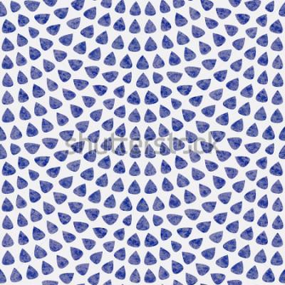 Фотообои Вектор бесшовный образец с макетом рыбьей чешуи. Синие каплеобразные элементы с акварельной текстурой на светло-белом фоне