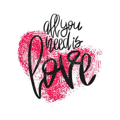 Фотообои Романтический плакат с надписью и отпечатком сердца. Черная рукописная фраза. Вектор современной каллиграфии на день Святого