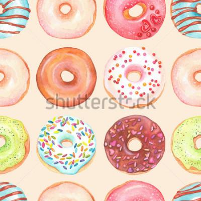 Фотообои Безшовная предпосылка застекленных пончиков акварели красочных.