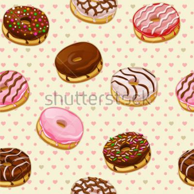 Фотообои Бесшовные с красочными вкусные пончики