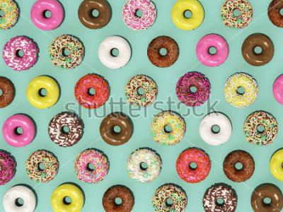 Фотообои Вид сверху Установите красочный узор пончики на зеленом фоне, рендеринг 3d пончики
