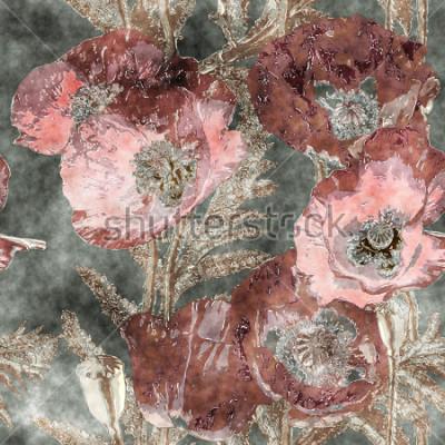 Фотообои Искусство Урожай Акварель Красочные Цветочные бесшовные модели с темно-красными маками, листьями и травами на фоне