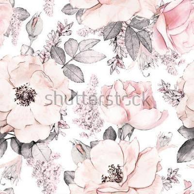 Фотообои Безшовная картина с розовыми цветками и листьями на белой предпосылке, акварельным цветочным узором, розой цветка в пастельном цвете, tileable для обоев, карточки или ткани