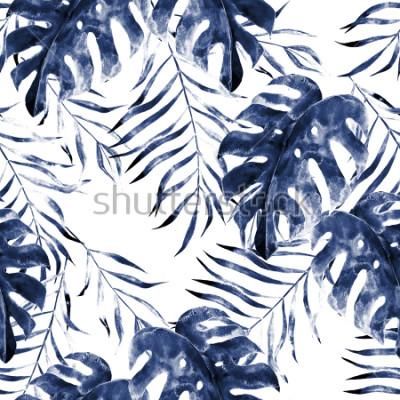 Фотообои Акварель экзотические бесшовные модели, зеленые тропические листья, ботанические летние иллюстрации на белом фоне