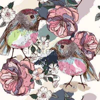 Фотообои Красивый ботанический узор в винтажном стиле с птицами и розами