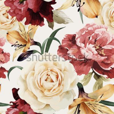 Фотообои Бесшовный цветочный узор с розами, акварель. Векторная иллюстрация