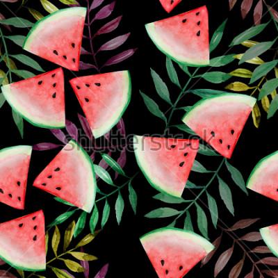 Фотообои Кусок арбуза с картиной тропических лист безшовной на черной предпосылке, картине акварели, дизайне для счастливой концепции летнего отпуска.