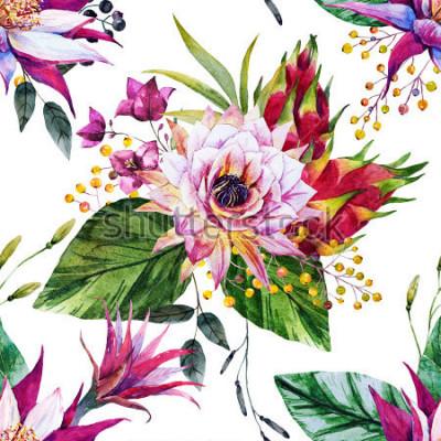 Фотообои акварель тропический узор, цветок кактуса, мексика, драконий фрукт, желтые ягоды