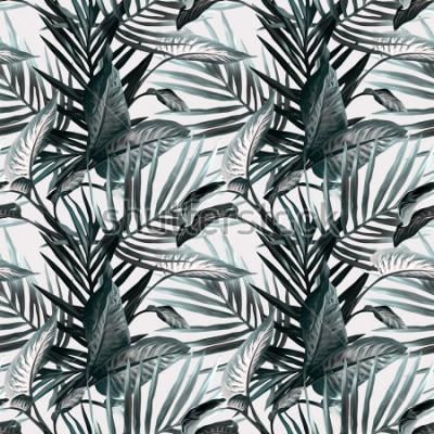 Фотообои Тропические листья бесшовные модели. Художественный фон.