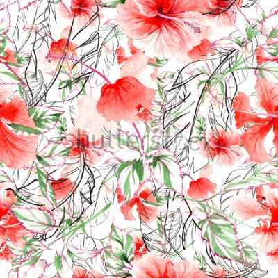 Фотообои Уайлдфлауэр Роза цветочный узор в стиле акварели. Полное название растения: роза, роза, гультемия. Полевой цветок Aquarelle для предпосылки, текстуры, картины оболочки, рамки или границы.
