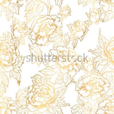 Фотообои Бесшовный фон с цветами пиона. Векторная иллюстрация имитирует традиционную китайскую роспись тушью. Графический ручной обращается цветочный узор. Текстильный дизайн ткани. Золотая краска.