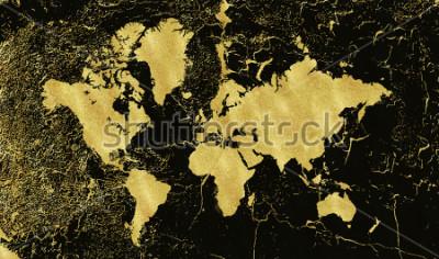 Фотообои Старинные золотые карты на черном фоне. Носить текстуру, гранж, золотую патину. Шаблон для открыток, свадебных приглашений, постеров, блогов, сайта и многого другого