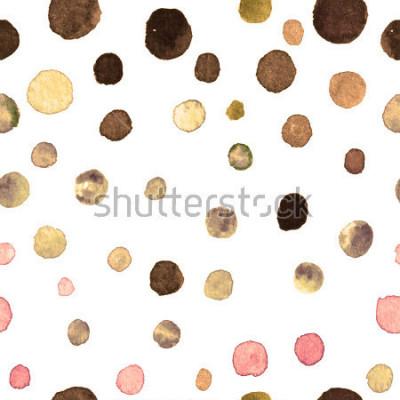 Фотообои акварель в горошек бесшовные модели. текстиль, плитка, обои, упаковка, печать. открытка, баннер или абстрактный фон. рука тонет повторяющийся узор с разноцветными точками неравной формы