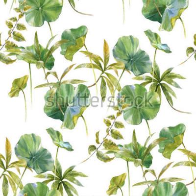 Фотообои Акварельные иллюстрации листьев, бесшовные узор на белом фоне