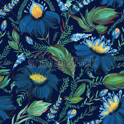Фотообои Абстрактный цветочный бесшовные модели в украинском народном стиле петриковской живописи. Ручной обращается фантазии цветы, листья, ветви на темно-синем фоне индиго. Батик, заполнение страницы, обложк