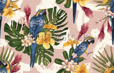 Фотообои Бесшовные тропический узор фона с тропическими цветами, синие и желтые ара и фламинго. Тропическая иллюстрация в винтажном гавайском стиле.