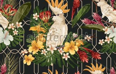 Фотообои Безшовная тропическая предпосылка картины с тропическими цветками и птицей какаду. Обои Tropicana, цифровая бумага, растровые иллюстрации в винтажном гавайском стиле.