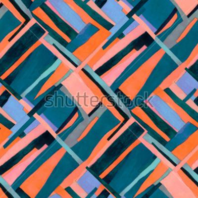 Фотообои Бесшовная текстура с разноцветными полосками и ромбами чирками. Модный современный абстрактный фон.