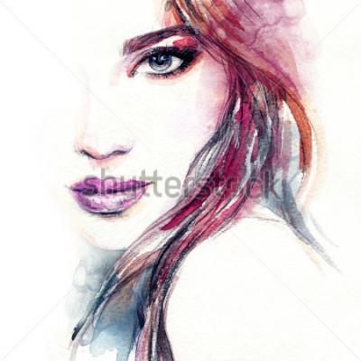 Фотообои Абстрактное лицо женщины. Мода Иллюстрация Акварельная живопись
