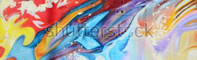 Фотообои Абстрактные граффити картины на бетонной стене. Фоновая текстура